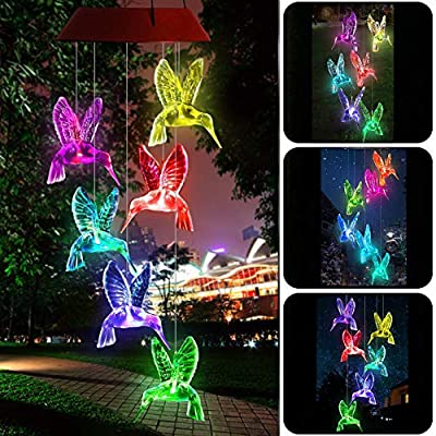 Yooda Color Changing Wind Chime Solar Powered Hummingbird Wind Chime Lights Wind Mobile Portable Waterproof Outdoor Decorative Wind Bell Light for Home Party Night Garden Decoration