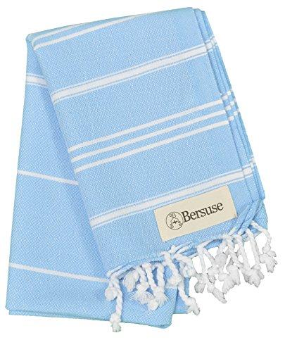 Bersuse 100% Algodon - Anatolia Toalla de Mano Turca - Cuidado del Bebe, Cara, Cabello, Cocina, Bano - 60 x 110 cm, Azul