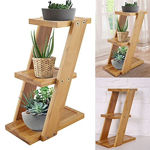 SOONHUA Mini Soporte de Flores de Plantas de Bambú Estante de Escalera de Exhibición de Plantas de...