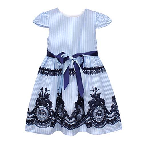 B-commerce Heißer verkauf Mädchen Sommer Kleidung Kleinkind scherzt Baby-Kurze Ärmel Kleidungs-Streifen-Blumenstickerei Bowknot-Streifen-Partei-Elegant Prinzessin Dress 6-7 Jahre