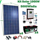 Kit Solar 48v 1000w/5000w día Inversor Multifunción 5kva Regulador MPPT 60A Batería Monoblock TAB 245Ah