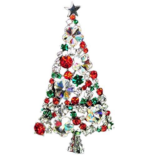 Emorias 1 x niedliche silberne Weihnachtsbaum-Brosche mit Strasssteinen und Kristallen, elegante Brosche, Anstecknadel, Geschenk für Damen und Mädchen.