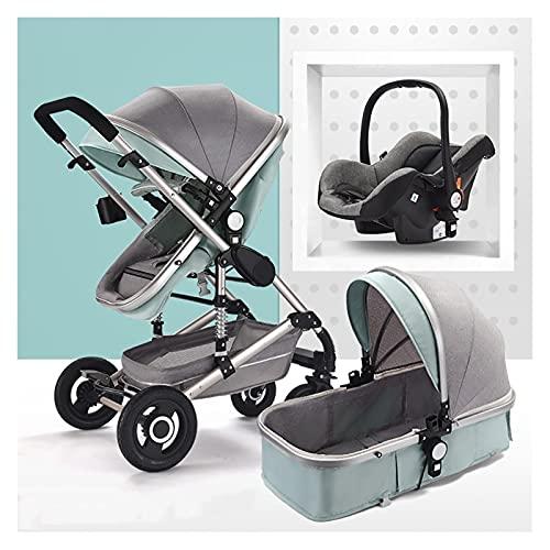 Cochecito de bebé recién nacido 3 en 1, cochecito asiento de coche cómodo ajuste, cochecito de cochecito de bebé de alto paisaje, pantalones de absorción de choque de lujo...