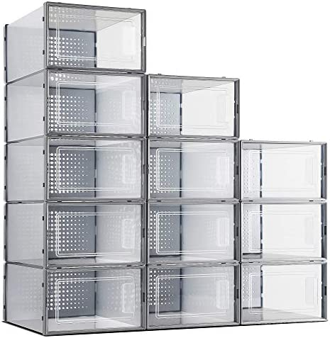 eWonLife Plastic Shoe Storage Box 12 Pack Stackable Clear Foldable Shoe Container with Lids product image