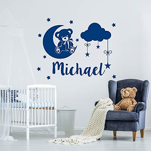Jungen Name Wandtattoo Teddybär Wolken Sterne Vinyl Aufkleber für Kinder Schlafzimmer Abnehmbare Personalisierte Benutzerdefinierte Aufkleber Wandbild 73x57 cm