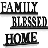 3 Pieces Wood Home Letter Sign Family Blessed Sign Black Wood Family Decorative Table Sign Standing Wood Letter Sign Cut Out Tabletop for Home Room Table Fireplace Mantel Centerpiece Decor