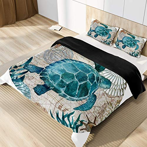 Sea Turtle Microfiber 3pcs Bedding Duvet Cover Set, Queen Size, Soft and Breathable with Zipper Closure & Corner Ties for Men Women Kids Teens