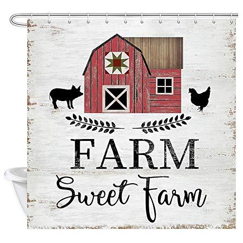 JAWO Landhaus Rustikal Dekor Duschvorhang Farm Sweet Farm Scheune Schwein & Huhn, Polyester Stoff Badvorhänge Set mit Haken 177,8 x 177,8 cm