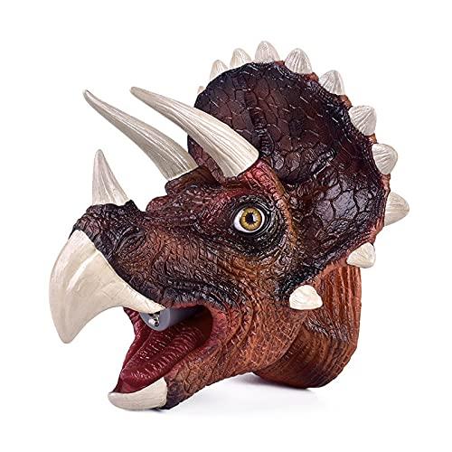 HGFDSA Juguetes De Marionetas De Mano De Dinosaurio Realistas, Mundo Jurasico, con Fuego Simulado De Luz Led,Rocío De Agua Y Sonido Rugiente, Regalo para Niñas Y Niños De 3 a 12 Años,Triceratops