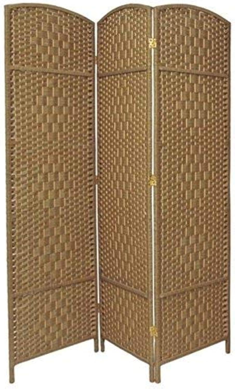 Oriental Furniture Best Simple Lighter Room Divider, 6-Feet Tall Diamond Weave Natural Fiber Folding Screen, Natural, 3 Panel Size
