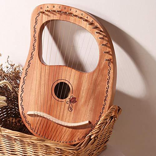 Ritapreaty Harfe 7-saitige Leier, 16 Metallsaiten Mahagoni Lye Harfe mit Tragetasche für Instrumentenliebhaber Anfänger
