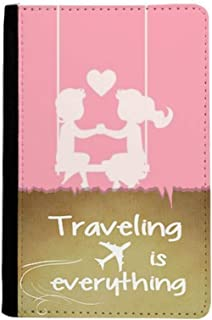 Pink Boy and Girl Valentine's Day Love Traveling quato Passport Holder Travel Wallet Cover Case Card Purse