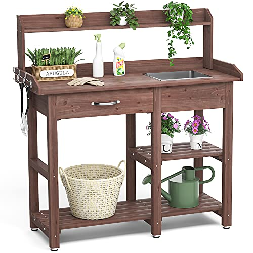 Homykic Potting Bench Outdoor, 46 Inch Fir Wood Potter Prep Station Storage Table Plant Bar Grill Workstation with Stainless Sink & Drawer Shelf Hook for Patio, Garden, Backyard, Brown