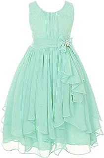 Big Girl Kids Sleeveless Asymmetric Chiffon Flower Party Wedding Bridesmaid Dress