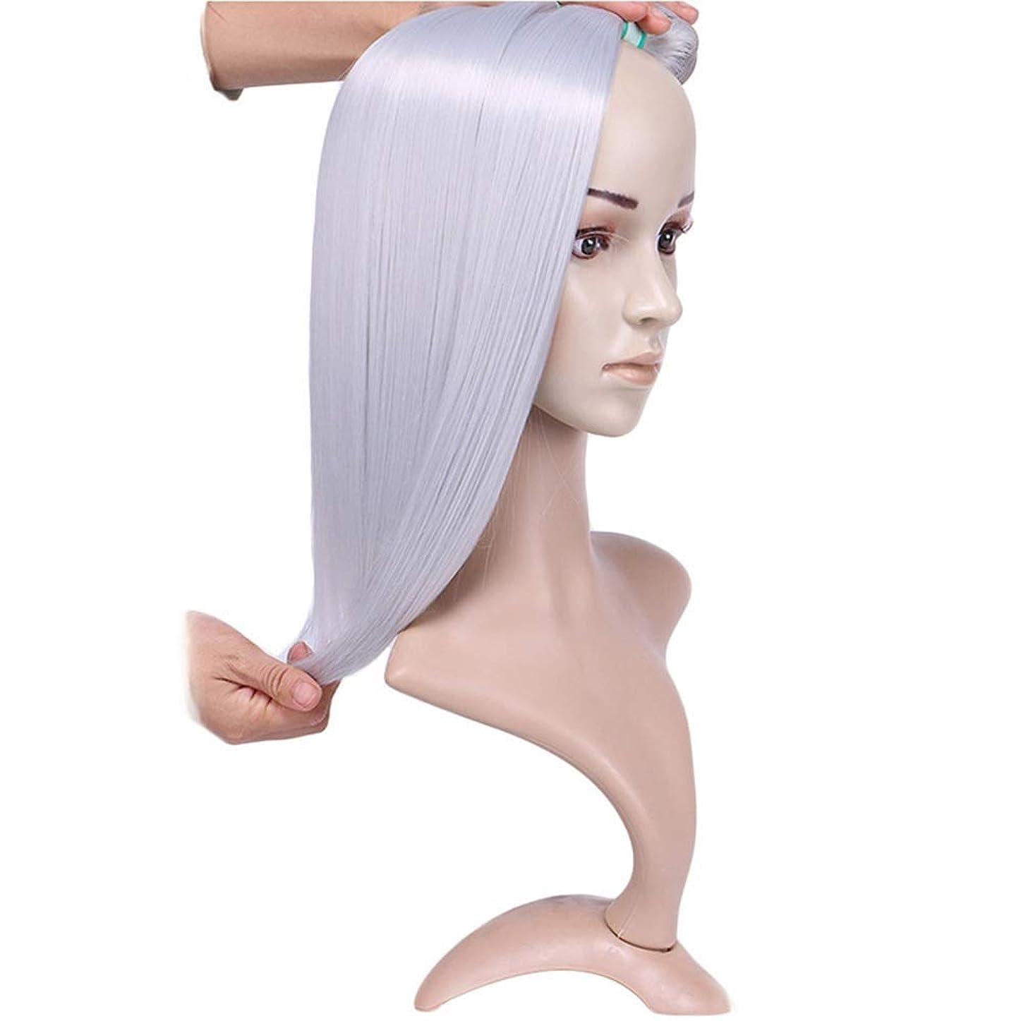 櫛解決トークHOHYLLYA シルバーグレーストレートヘアバンドルシルキーストレート織り方長さ混合長(16 18 20)合成髪レースかつらロールプレイングかつら長くて短い女性自然 (色 : Silver grey, サイズ : 18