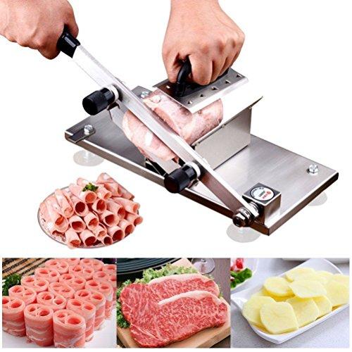 CGOLDENWALL Cortafiambres de Carne Manual de Acero Inoxidable 丨Grosor del Corte Ajustable 0.2-2.5mm丨170mm Longitud de Hoja丨Ideal para Carnes Congelados, Verduras y Frutas - Plateado