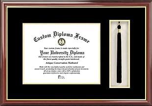 Laminated Visuals Plain Mat College & University - Black-Gold Mats - Tassel Box - Mahogany - Diploma Frame