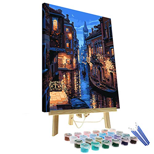 """Paint by Numbers for Adults Kits with Wooden Frame and Easel The Giant Dimensions Plaid DIY Acrylic Oil Painting Kit for Adult Beginner on Canvas 16""""X20"""" Venice Evening"""