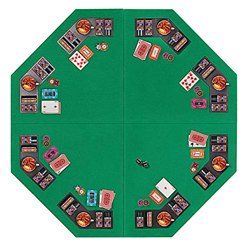 VIVOHOME 48 Inch Foldable 8-Player Texas Poker Card Tabletop Layout Portable Anti-Slip Rubber Board Game Mat with Cup Holders and Carrying Bag