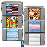 Large Storage Bags, 6 Pack Clothes Storage Bins Foldable Closet Organizers Storage Containers with...