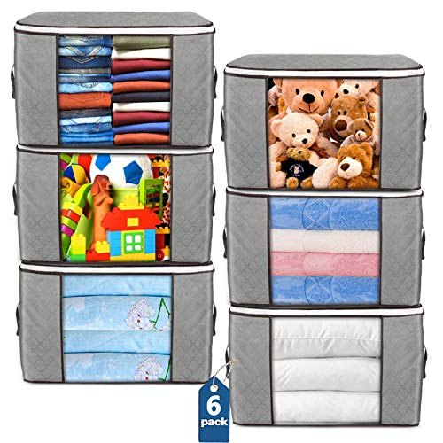 Large Storage Bags 6 Pack Clothes Storage Bins Foldable Closet Organizers Storage Containers with Durable Handles Thick Fabric for Blanket Comforter Clothing Bedding 90L Gray
