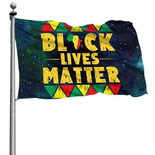 iqingzhongbai Bandera del Jardín El Negro Vive la Materia No puede Respirar la Bandera del Patio 3x5 Ft Banner Decorativo para la Casa
