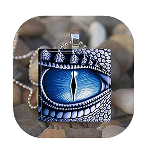 Sunshine - Collar con Colgante de baldosa de Cristal, diseño de Ojo de dragón, Color Azul y Verde