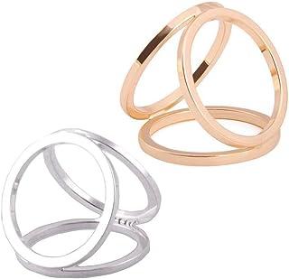 Ericotry 2 piezas (dorado + plateado) mujeres niñas moda bufanda Clip anillo hebilla bufanda diapositivas moderno simple t...