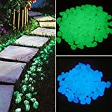 Pebbles Glow Stones - Glow in The Dark Garden Pebbles, Luminous Stones Rocks for Walkways Garden Path Patio Lawn Garden Yard Decor (50pc, Blue)