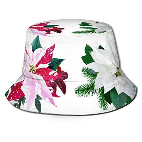 Fishing Hat,Christmas Bouquets Arranged From Red And White Poinsettia Fir Branch Emerald Eucalyptus Selection Mix Of Plants,Hiking Boonie Safari Sun Caps Traveling for Men&Women for Outdoor Gardening