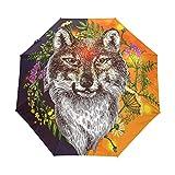 Suzanne Betty - Paraguas de viaje con cierre automático, diseño de lobo y flores, estilo boho, 3 pliegues, resistente al viento, UV