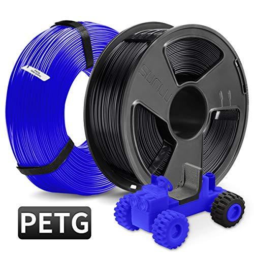 PETG 3D Printer Filament, SUNLU PETG Filament 1.75mm, PETG MasterSpool Filament 2KG PETG Black+Blue