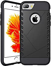 CaseHQ iPhone 7 Plus Case,iPhone 8 Plus Case,PC+Rubber Slim fit Heavy Duty Protection Style Protective Shockproof Cover Bumper Case for Apple iPhone 7 Plus/iPhone 8 Plus (5.5 inch screen)(Black)