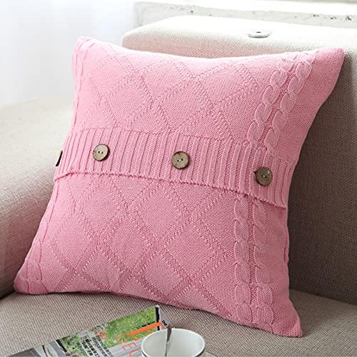MissW Funda De Almohada Decorativa con Botones De Punto De Color Puro Rosa Azul Rojo 45X45Cm Funda De Cojín Decorativa con Borla Cuadrada Adecuada para El Sofá del Dormitorio