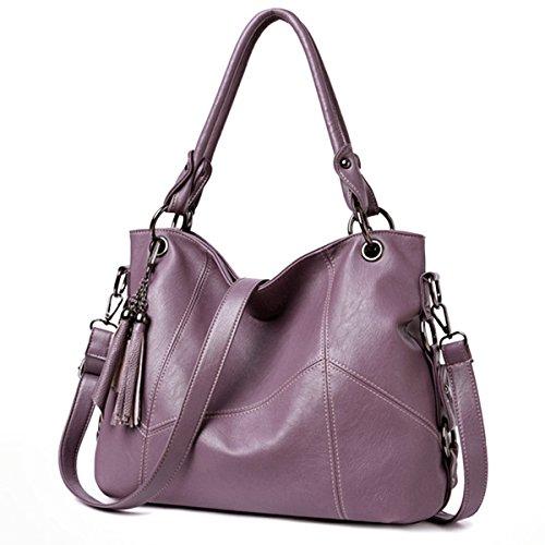 Fanspack Women's Tote Handbags PU Leather Top Handle Bag Crossbody Shoulder Bag Purse with Tassel Pendant