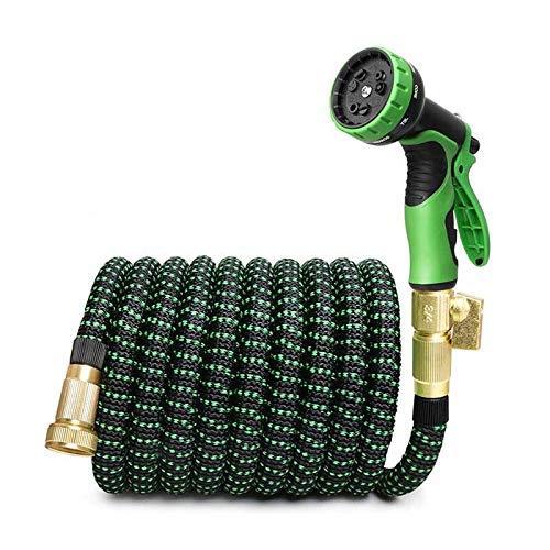LXM 7,6 m-30,5 m giardino goccia irrigazione tubo espandibile giardino irrigazione tubo flessibile ad alta pressione pistola ad acqua spruzzatore (colore: verde nero, dimensioni: 22,9 m 22,5 m)