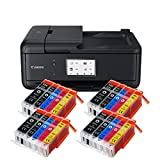 Canon Pixma TR8550 TR-8550 Farbtintenstrahl-Multifunktionsgerät (Drucker, Scanner, Kopierer, Fax, USB, WLAN, LAN, Apple AirPrint) Schwarz + 20er Set IC-Office XXL Tintenpatronen 580XXL 581XXL