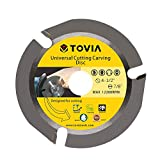 Wood Carving Disc for Angle Grinder 4-1/2-Inch, T TOVIA 3 Teeth Circular Woodcarving Saw Blade, Multipurpose Wheel for Cutting, Sculpting and Shaping, Stump Log Grinder Attachment with 7/8' Arbor