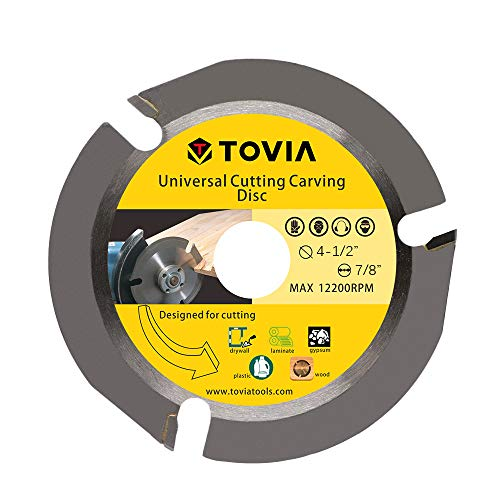 TOVIA 3 Teeth Wood Cutting Shaping Disc for Angle Grinder,Multipurpose Carving Wheel,Stump Log Grinder Attachment with 7/8' Arbor