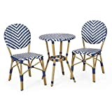 Christopher Knight Home 314452 Picardy Bistro Set, Navy Blue + White + Bamboo