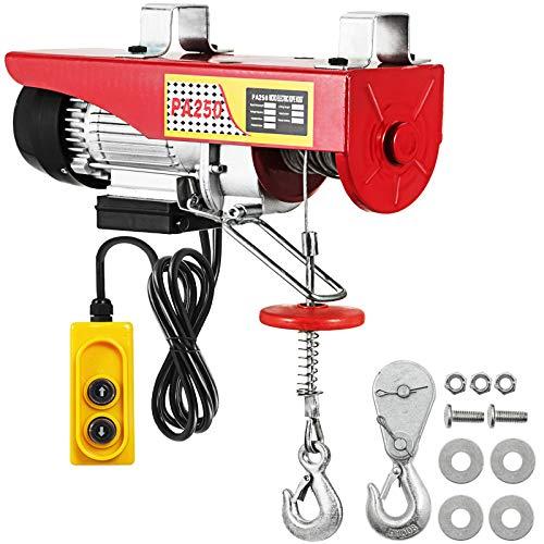 VEVOR Cabrestante Eléctrico 550 lbs, Levante el Polipasto Eléctrico, Energía de Entrada 500 W, Cabrestante Eléctrico de Recuperación Inalámbrico, Capacidad de Línea Simple/Doble - 125 kg / 250 kg