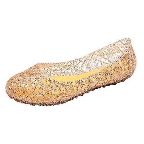 Damen Sandalen Schuhe MŠdchen Frozen Eiskšnigin Prinzessin Verkleiden Sich Mädchen Phantasie Prinzessin Schuhe für Cosplay Party Geburtstag Schnee Königin Gelee Partei Schuhe Sandalen (Gold, 41)