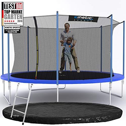 Kinetic Sports Outdoor Gartentrampolin Ø 425 cm, TPLS14, inklusive Sprungtuch aus USA PP-Mesh +Sicherheitsnetz +Rand- u. Regen-Abdeckung +Leiter, bis 150kg, UV-beständig, BLAU