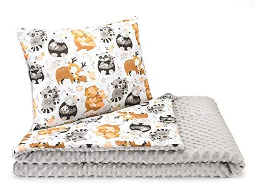 Decke Kindergartenkind 2seiting XXL Minky 100 x 135 cm Babydecke Kuscheldecke (Waldfamilie)