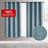 Rose Home Fashion 100% Blackout Curtains for Bedroom Linen Textured Look Drapes with Blackout Liner, Curtains for Living Room/Farmhouse, Burlap Curtains-Set of 2 Panels (50x63 Blue)