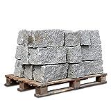 GALAMIO Granitmauerstein Granit Bord Rand Kante Palisade Stein Gehweg Straße Natur Steine Grau 40 x 25 x 25cm 1.000kg / 1 Palette Paligo