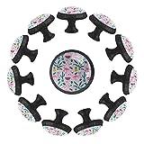 12 pomos de cristal de 35 mm para armario de armario, diseño de flamenco, piña, sandía, forma de círculo, tiradores de cajón con tornillos para oficina en el hogar