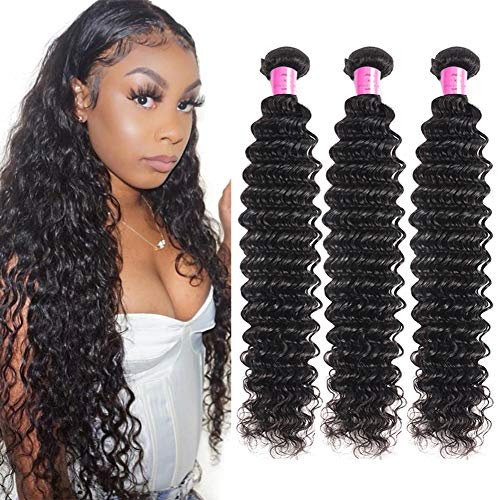 FDX Deep Wave Human Hair Bundles 26 28 30 Inch 100% Unprocessed 9A Brazilian Virgin Deep Curly Hair Bundles Weave Extensions Natural Color 26 28 30 Inch