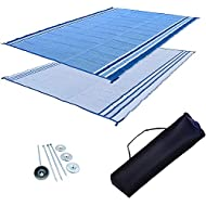 Professional EZ Travel Collection Reversible RV Outdoor Rug for Backyards, Beaches, Camping Grounds, Patios, and More, Storage Bag and Mat Stakes Included, Ocean Blue (9x18)RV Patio Mat: 9x18 Extra-Wide Ocean Blue RV Mat