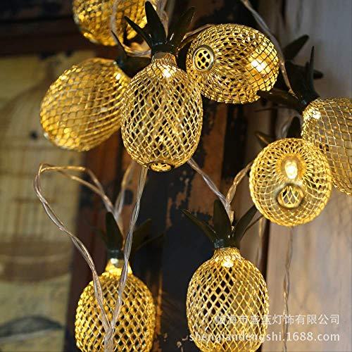 CFLFDC Kandelaar, kerstdecoratie, led-ijzer, goud, ananas, boutique, bruiloft, vitrine, verlichting, ingenieursverlichting, decoratie, 1,5 m, 10 lampen, batterijbehuizing